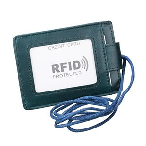 Trassory Anti Rfid Id Card Neck Holder Genuine Leather Credit Card Holder With Strap For M jllgco