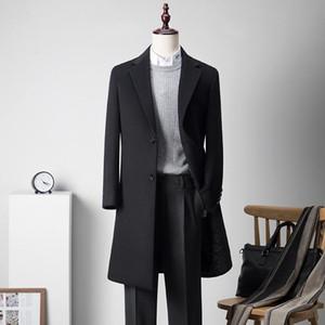 Shan bao erkek ince uzun yün ceket kış marka giyim lüks yüksek kaliteli iş beyefendi iki düğme yün ceket siyah mavi
