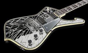 Super raro ps2cm roxo tira de ouro rachado espelho iceman paul stanley guitarra elétrica abalone creme de creme de abalone ligação, abalone pérola inlay
