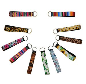 Hot Neoprene Wristlet Keychains Lanyard Serape Prints Strap Band Split Ring Key Chain Holder Key Hand Wrist Lanyard Keychain For ZZC6229