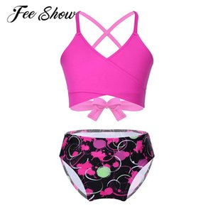 One-Pieces Kid Girls 2pcs Swimsuit Swimwear Wrapped V Neck Self-Tie Crop Tops Print Bikini Bottom Set Children Bathing Suit Swimming Outfit