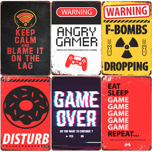 2021 Warning Angry Gamer Over Vintage Tin Sign Gaming Repeat Wall Poster Club Home Bedroom Decor Eat Sleep Game Funny Wall Stickers Plaque