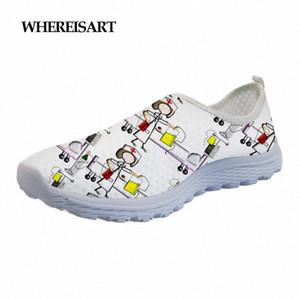 WHEREISART Happy Nurses Print Women Summer Beach Water Shoes Female Flats Breath Teen Girl Shoes Mesh Sneakers R1H7#
