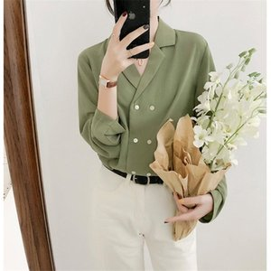 HZIRIP New Office Damsies All Match Краткая двубортная Осень Элегантная Женская Повседневная Большой Размер Свободные Желтые Рубашки