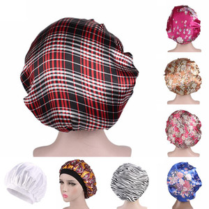 Hair Satin Bonnet For Sleeping Shower Cap Silk Bonnet Femme Women Night Sleep Cap Head Cover Wide Elastic Band