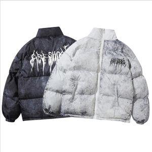 Men Hip Hop Oversize Padded Bomber Jacket Coat Streetwear Graffiti Parka Cotton Harajuku Winter Down Outwear