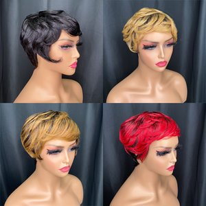 Super September pixie cut wavy wig vendor wholesale promotion low price affordable Indian human hair multicolor optional for sale