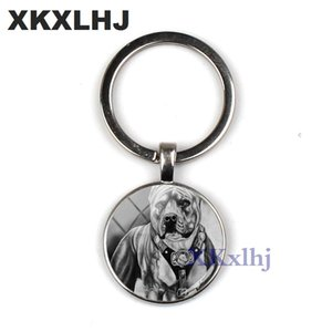 XKXLHJ 2018 Fashion Pit Bulldog Key Ring Pitbull Key Chain Glass Dome Key Chain Round Handmade Lady Keychain