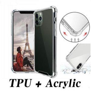 Transparent Shockproof Acrylic Hybrid Armor Hard PC Soft TPU Case for iPhone 13 12 mini 11 Pro X XS Max XR 8 7 6 Plus