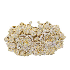 Dazzling Women Bag Gold Rose Flower Hollow Out Crystal Evening Metal Clutches Small Handbag Purse Wedding Box Clutch Ba