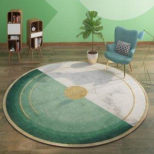 Luxury Green Round Carpet For Living Room Swing Basket Chair Area Rug Non-Slip Floor Mat Polyester Velvet Fleece Round Carpets