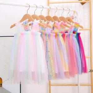 Kızlar Tül Askı Etekler Tutu Yaz Prenses Elbiseler Çocuk Tasarımcısı Giysi Ins Balo Elbise Dans Parti Zarif Elbise FWB5063