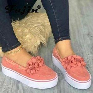 Fujin Frauen Flache Schuhe Frühling Herbst Große Größe Mode Dicke Unterseite Freizeitschuhe Frauen Runde Zehe Flache Blume Müßiggänger M1TN #