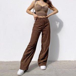 Frauen Hosen Neue Retro Super Light Core Samt Hosen Brown Wide Bein Hosen Street Style Komfortable Jeans Dropshipping