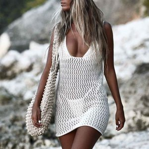 New Swimsuit Cover Up Kaftan Beach Outings 2021 Bathing Suit Clothing Summer Women Pass Hot Knitting Hollow Out Backless Smock Q5y0
