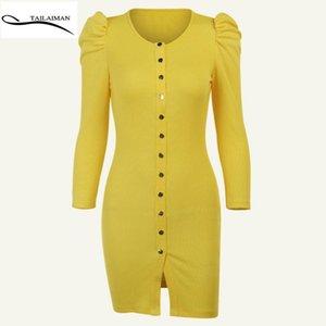 Vestido de verano amarillo Femme Falda corta de niña de gama alta Tailiman Tienda oficial Sundress Bodycon OW03