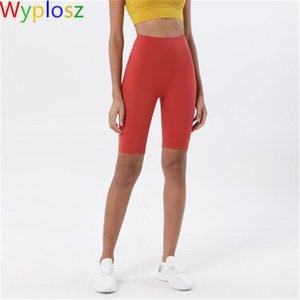 Sexy Shorts de yoga Serrer Double Pablage latérale Pas d'embarrastation Ligne Fitness Pantalon courant Pantalon High Taille Pêche Hip Pêche Five Point Skims