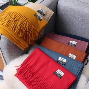 Autumn Winter New Ao Scarf Women's Solid Color Literature and Art Knitting Cashmere Like Warm Shawl Tassel Thickening Embroidery
