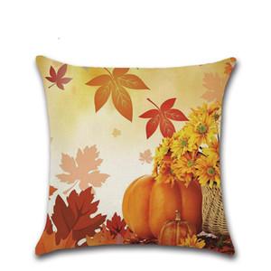 45*45cm Pillowcase Linen Pillow cover Happy Fall Thanksgiving Day Soft Linen Pillow Case Cushion Cover Home Decor VT0127