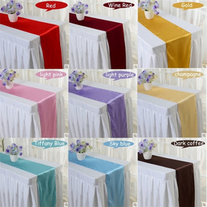 Cheap 10pcs lot Red Blue Yellow Purple 16 colors 30*275cm Satin Table Runner For Wedding Engagement Hotel Banquet Fesival Decor Y200421