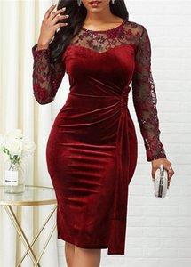 Vestidos casuales Vestido de verano de primavera Mujeres 2021 Tallas grandes Slim Velvet Office Lápiz elegante Sexy Hollow Out Lace Long Party Vestidos
