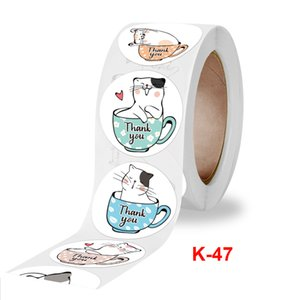 Cute Cat Children Cartoon Thank You Adhesive Stickers Printed 1 inch Envelope Package Paper Labels 500pcs roll 1.5 inches