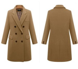 Explosive fashion autumn and winter mid-length plus size woolen women's coat double-breasted woolen coat Europe station