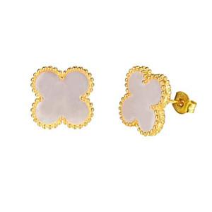 Le donne moda classico reali 18 carati placcato oro quadrato a quattro foglie quadrifere orecchini / 4 orecchini per bordi di trifoglio per donna regalo