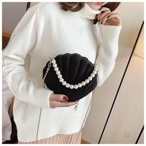 Elegant Velvet Shell Shape Designer Bag Ladies Shoulder Fashion Banquet Party Chain Crossbody Bags For Women Pearl Portable