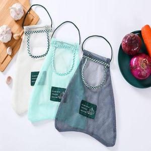 Creative Mesh Bag Wall Hanging Vegetable Garlic Storage Bag Kitchen Onion Protection Net Bag Woven Mesh Gauze Pouch