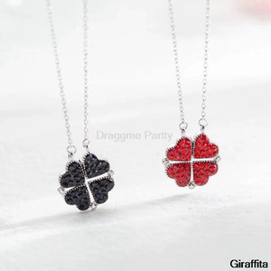 Simple Crystal 4 Four-leaf Clover Pendant Necklace Love Stitching Necklace High Quality Ladies Fashion Jewelry Charm Gift