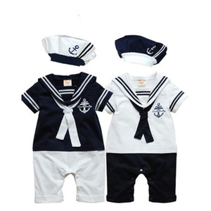 New Fashion Summer Newborn Navy Style Baby Romper Kids Boys Girls Jumpsuit+Hat 2Pcs Body Short-sleeve Sailor Suit