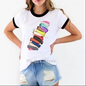 New arrival Tshirt women 2021 cute Cosmetic traces print femme summer harajuku rainbow shirt white t shirt ringer tee