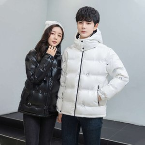 Designer fashion short couple down jacket men's and women's same wash free waterproof printing process thickened warm and cold proof coat
