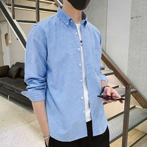 Autumn and winter 2020 new men's Korean fashion leisure long sleeve shirt trend