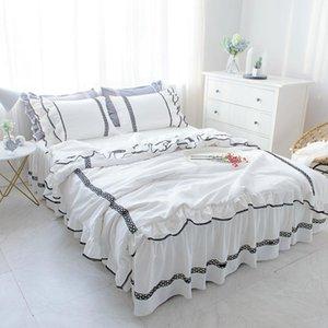 Романтическая принцесса рюкширует белое кружевное постельное белье набор двойной полная королева королевы кровати king-size кровать крышки постное покрытие мягкое стиральное хлопок текстиль