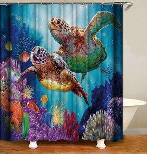 3D 디지털 인쇄 폴리 터 샤워 커튼 거북이 세리 방수 샤워 커튼 가정용 욕실 파티션 커튼