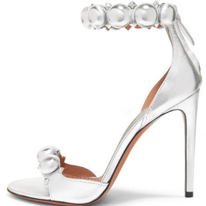 Summer Women Pyramid Rivets Studs Buttons T-Strap Sandals Party High Heels Peep Toe Stiletto Heels Cutouts Prom Shoes