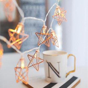 Novidade LED Luzes Luzes de Metal Star String Light Bateria Automada Natal Feriado Garland Light for Party Wedding Decoration