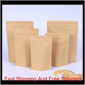 500pcs Zipper Brown Kraft Aluminizing Pouch,stand Up Kraft Paper Aluminium Foil Bag Resealable Zip Lock Grip Seal F qylqcg bwkf