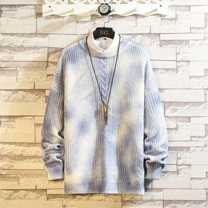 2021 New o Neck Sweaters Men Autumn Winter Tiedye Pullovers Korean Fashion Loose Mens Sweater Mkbv