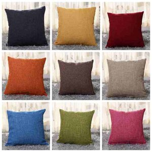 40cm*40cm Cotton-Linen Decorative Throw Pillow Covers Solid Color Burlap Pillow case Classical Linen Square cushion cover for Couch Sofa