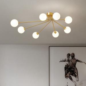 Nordic Glass Magic Bean Ceiling Light Chandelier Modern Decor Brass Surface Mounted Pendant Lamp Living Room Bedroom Led G9 Lighting