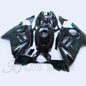 Motorcycle parts for HONDA CBR 600 F3 fairings 1997 - 1998 CBR600 F3 97 98 green flames in black fairing kit + Tank cover