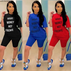 Letter Print Tracksuit Women Set Top Biker Shorts Plus Size Casual 2 Piece Sets Womens Outfits Summer Matching Sets for Women 210302