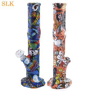 Smoke Shop water pipes straight bong non fading printing pattern silicone bongs dabs rig thick glass bubbler smoking tobacco 14.4''