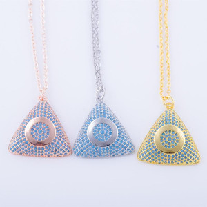 European Fashion Triangle Necklaces Pendant Copper Metal Blue Zircon Rhinestone boho Jewelry mothers day Gift statement necklace