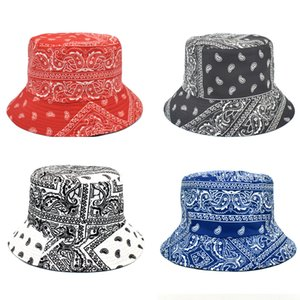 New Fashion Vintage Print Bucket Hats Women Summer Double-Side Hip Hop Caps Men Outdoor Panama Fisherman Hat