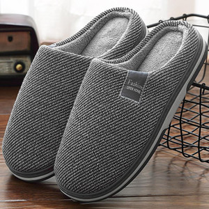 Women's Slippers Memory Foam Slippers for Home 2021 Winter Non Slip Male House Shoes Stripe Unisex Indoor Plus Size 11-12