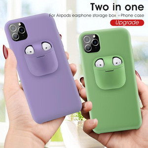 2in1 AirPods Earphone Case and Liquid Silicone+Plastic Back Cover for iPhone 12 11 Pro XR XS MAX 7 8 Plus Free DHL